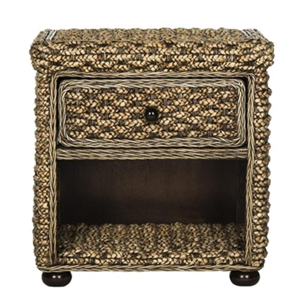 Safavieh 22.10-in x 22.10-in Brown Musa Braided Wicker One Drawer Nightstand