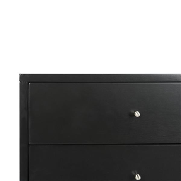 Safavieh Lyla 24-in x 18-in Black Mid Century Retro Silver Cap Nightstand