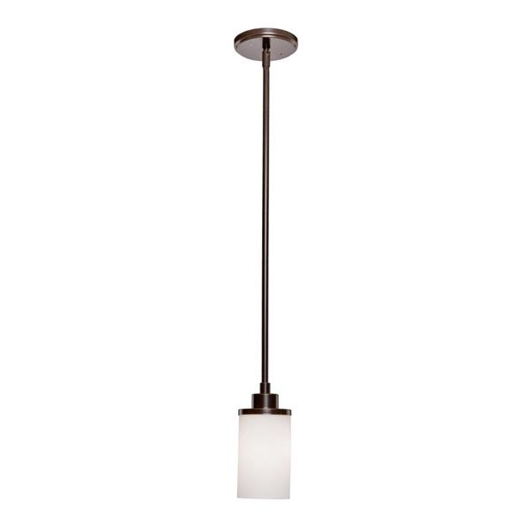 Artcraft Lighting Parkdale Oil Rubbed Bronze Opal Shade Transitional Cylinder Mini Pendant Lighting