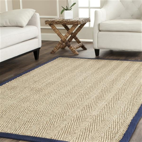 Safavieh Natural Fiber Natural and Blue Area Rug,NF115E-8SQ