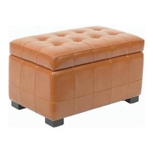 Safavieh Hudson Manhattan 17.00-in x 30.00-in Saddle Faux Leather Small Storage Ottoman