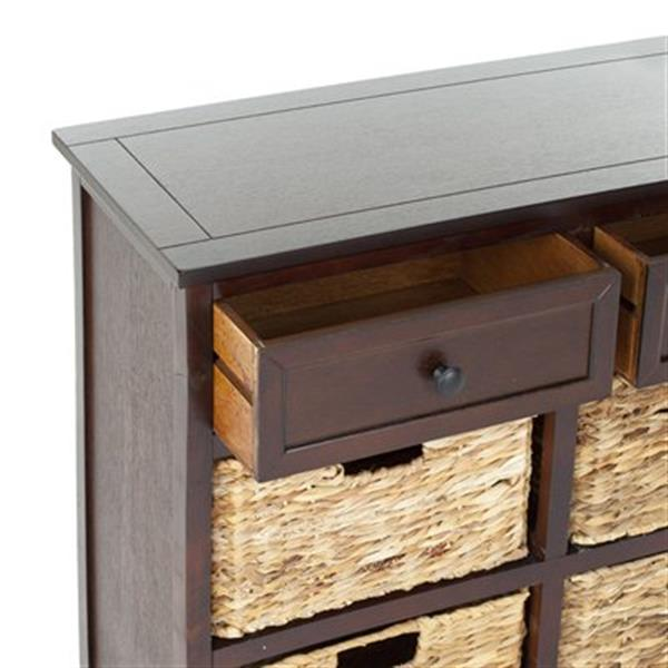 Safavieh Herman Rectangular Dark Cherry 2 Drawer Storage Unit Console Table