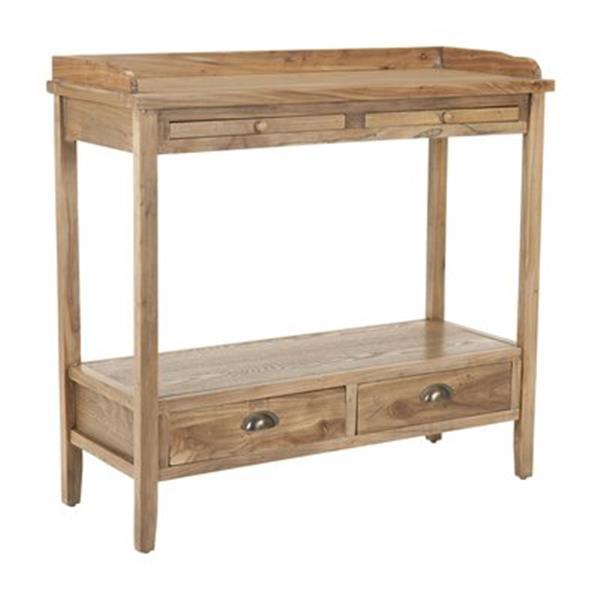Safavieh Peter Rectangular Pickeled Oak Elm Wood 2 Drawer Console Table
