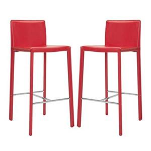 Safavieh Jason 17.80-in x 39.30-in Red Bonded Leather Bar Stool (Set of 2)