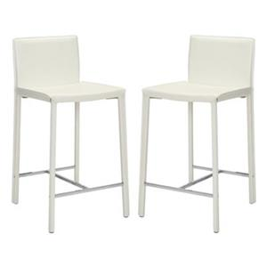 Safavieh Jason 17.80-in x 35.50-in White Bonded Leather Bar Stool (Set of 2)
