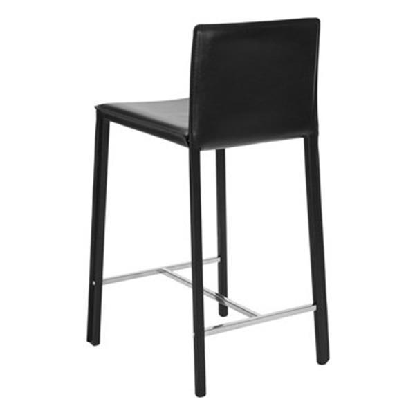 Safavieh Jason 17.80-in x 35.50-in Black Bonded Leather Bar Stool (Set of 2)