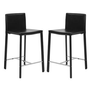Safavieh Jason 17.80-in x 35.50-in Black Bonded Leather Bar Stool (Set of 2)