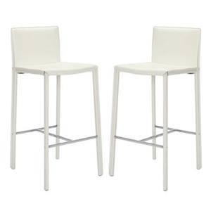 Safavieh Jason 17.80-in x 39.30-in White Bonded Leather Bar Stool (Set of 2)