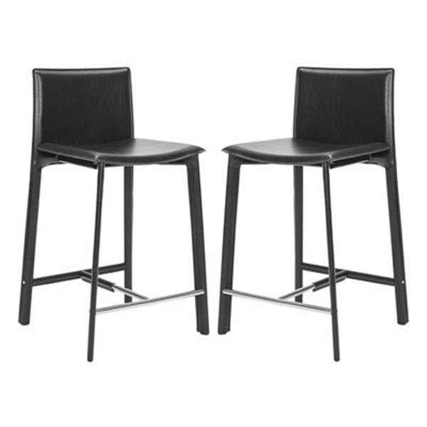 Safavieh Janet 25.50-in Black Bonded Leather Counter Stools (Set of 2)