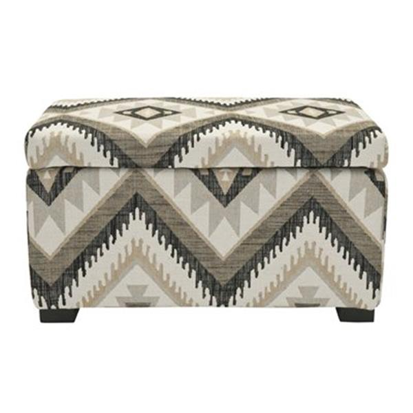 Safavieh Madison 17.00-in x 30.00-in Black Polyester Storage Ottoman