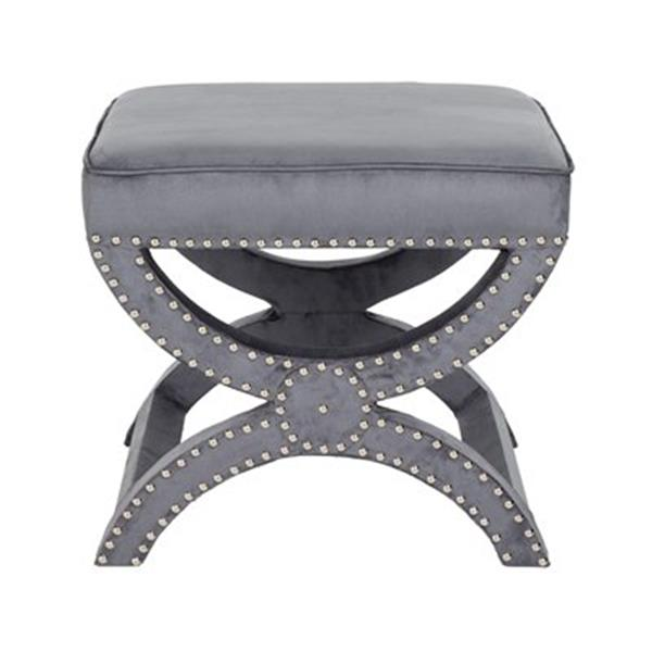 Safavieh Mystic 19.00-in x 21.50-in Pewter Gray Polyester Ottoman