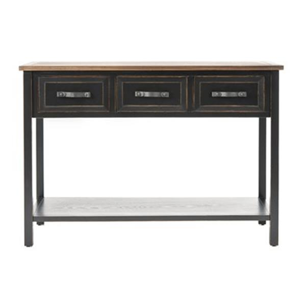 Safavieh Aiden Rectangular 3 Drawers Dark Walnut Pine Wood Console Table