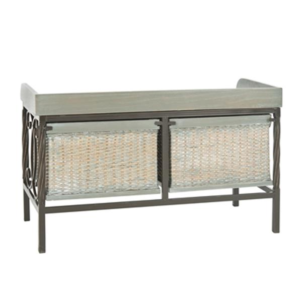 Safavieh Noah 20.10-in x 32.90-in Antique Pewter/ French Gray Storage Bench