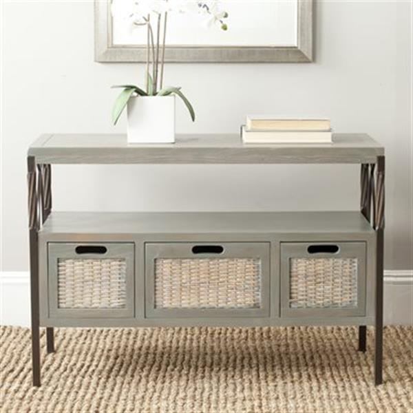 Safavieh American Home Chandra Rectangular 2 Shelves 3 Drawers French Grey Console Table