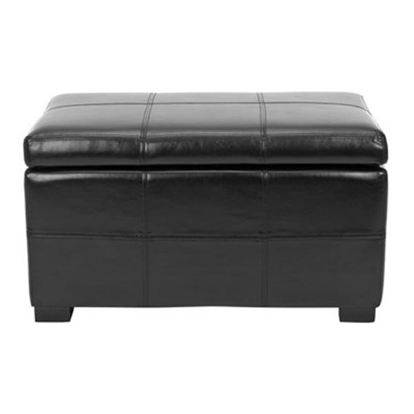 Safavieh Madison 17.00-in x 30.00-in Black Faux Leather Small Storage Ottoman