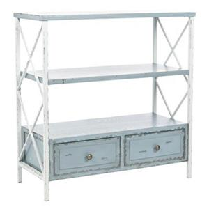 Safavieh American Home Chandra Rectangular 3 Shelves 2 Drawers Distressed Blue Console Table