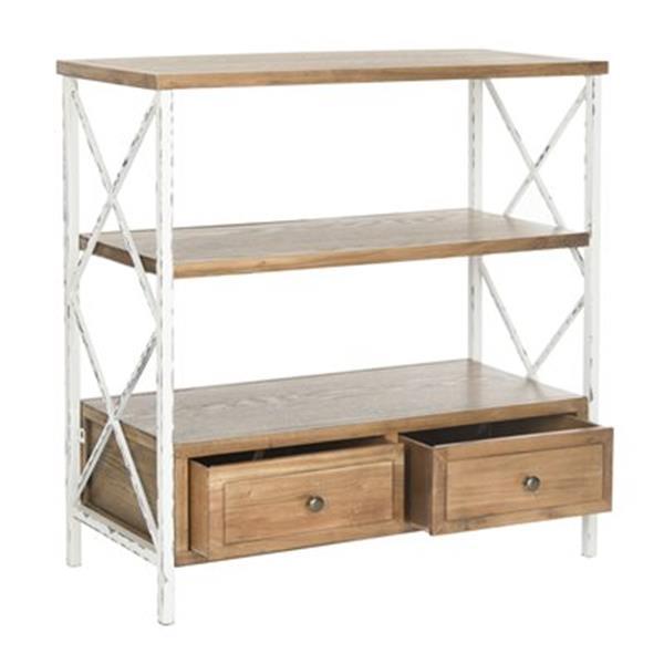 Safavieh American Home Chandra Rectangular 3 Shelves 2 Drawers Oak Wood Console Table