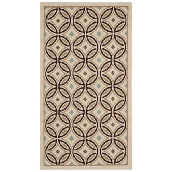 Safavieh VER047-0212 Veranda Area Rug, Cream / Chocolate,VER
