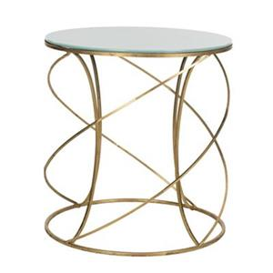 Safavieh Cagney 21.2-in Gold/White Glass Accent Table