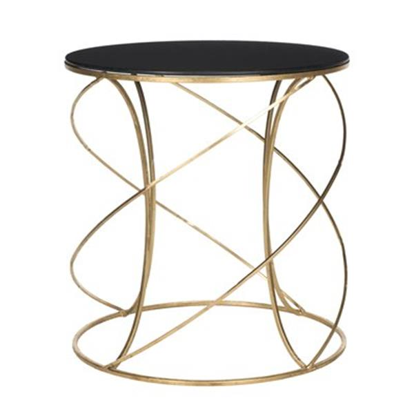 Safavieh Cagney 21.2-in Gold/Black Glass Accent Table