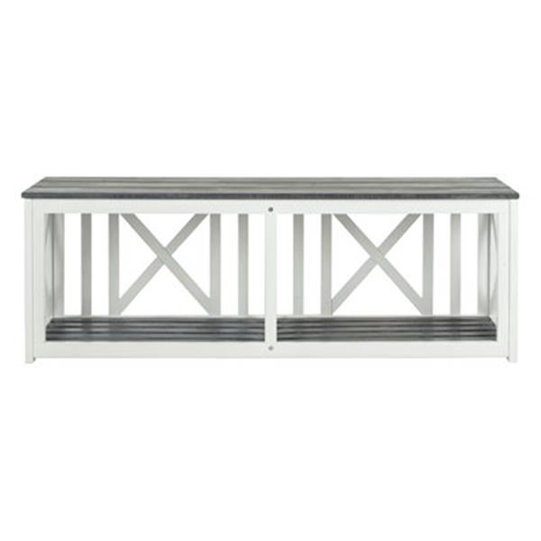 Safavieh Branco 18.1-in x 51.2-in White/Ash Grey Bench