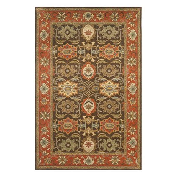 Safavieh Heritage Chocolate and Tangerine Area Rug,HG734B-6