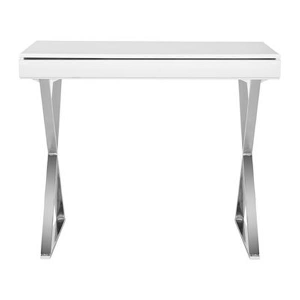 Safavieh Fox 19.6-in x 39.3-in White/Chrome Gordon Desk