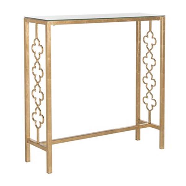 Safavieh Jovanna Rectangular Gold/Clear Glass Top Console Table