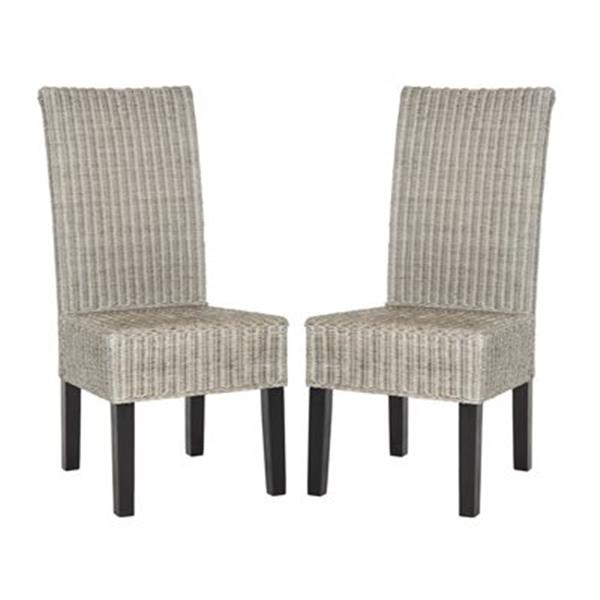 Safavieh Southeast Asia Arjun 18-in Antique Grey Wicker Dining Chairs (Set of 2)