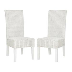 Safavieh Southeast Asia Arjun 18-in White Wicker Dining Chairs (Set of 2)
