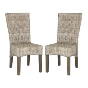 Safavieh Southeast Asia Ozias 19-in Whitewashed Wicker Dining Chairs (Set of 2)