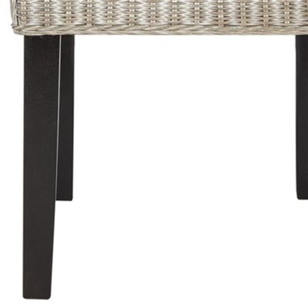 Safavieh Southeast Asia Odette 19-in Antique Grey Wicker Dining Chairs (Set of 2)