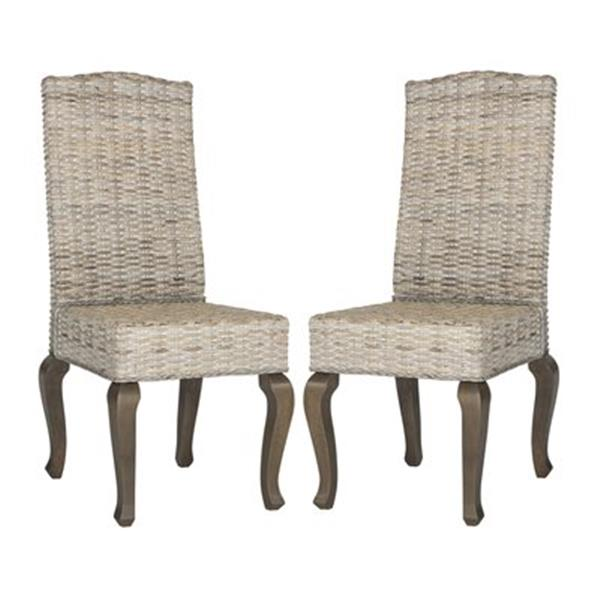 Safavieh Southeast Asia Milos 18-in Whitewashed Wicker Dining Chairs (Set of 2)