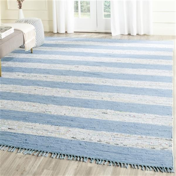 Safavieh MTK720C Montauk Flat Weave Ivory and Turquoise Area