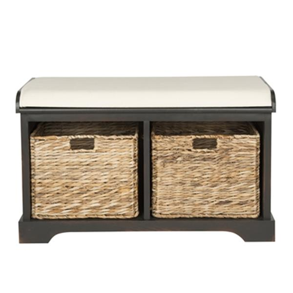 Safavieh Freddy 20.00-in x 33.50-in Dark Brown Wicker Storage Bench