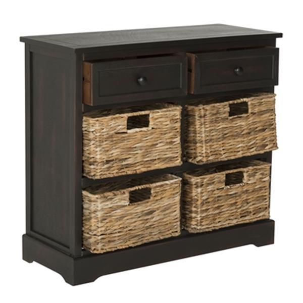 Safavieh Herman Brown Wood Storage Unit With Storage Baskets