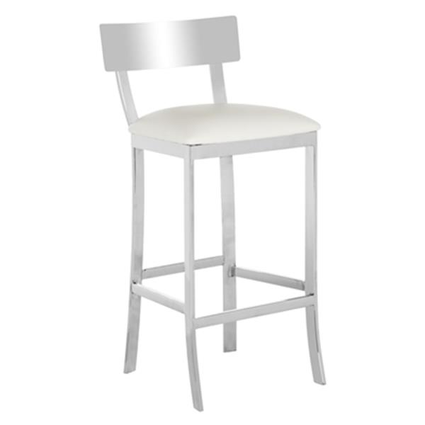 Astonishing Safavieh Abby 39 In Stainless Steel And White Faux Leather Lamtechconsult Wood Chair Design Ideas Lamtechconsultcom