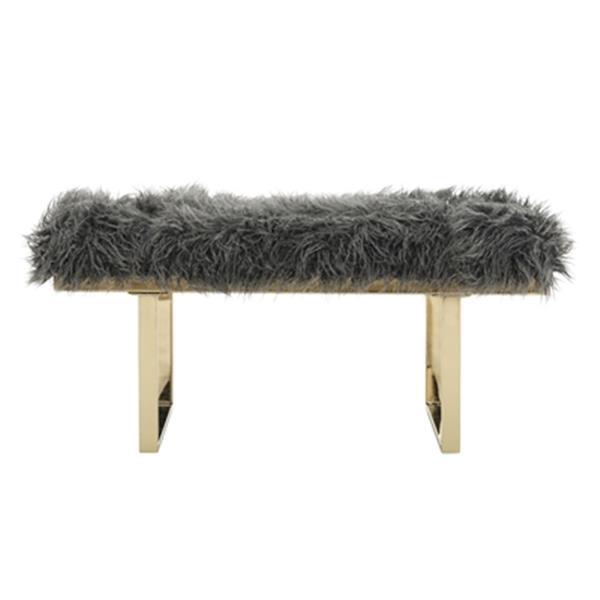 Safavieh Maia 17.30-in x 38.00-in Gray Faux Sheepskin Bench