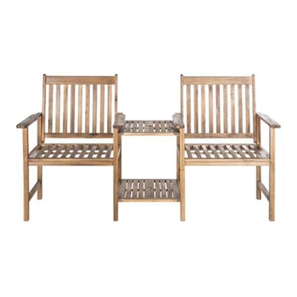 Safavieh Brea 35.4-in x 65-in Brown Twin Seat Bench