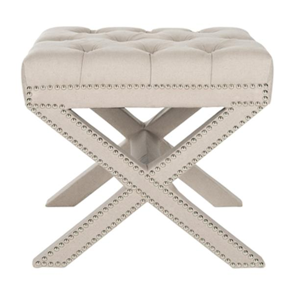 Safavieh Mercer 19.30-in x 21.30-in Taupe Linen Patrice Ottoman
