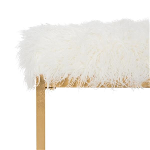 Safavieh FOX6280 Etta Faux Curly Sheepskin Bench,FOX6280B