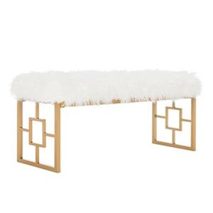 Safavieh FOX6291 Mera Faux Sheepskin Bench,FOX6291B