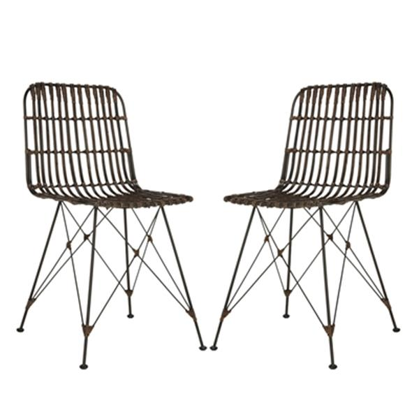 Safavieh Minerva 19.68-in Croco Brown Dining Chairs (Set of 2)