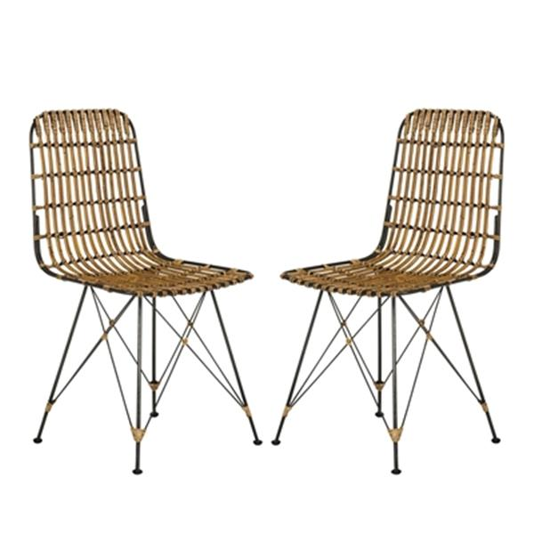 Safavieh Minerva 19.68-in Brown/Black Dining Chairs (Set of 2)