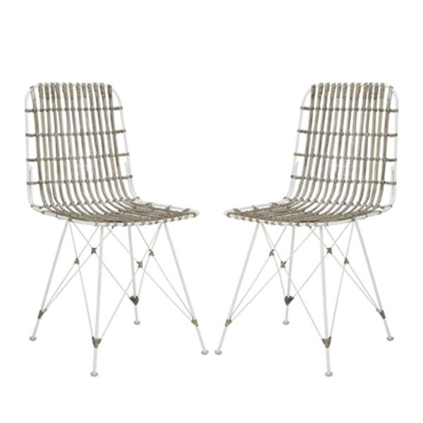 Safavieh Minerva 19.68-in White Dining Chairs (Set of 2)