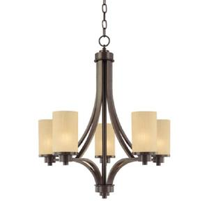 Artcraft Lighting 96-in Wrought Iron Oil Rubbed Bronze 5-Light Transitional Shaded Chandelier