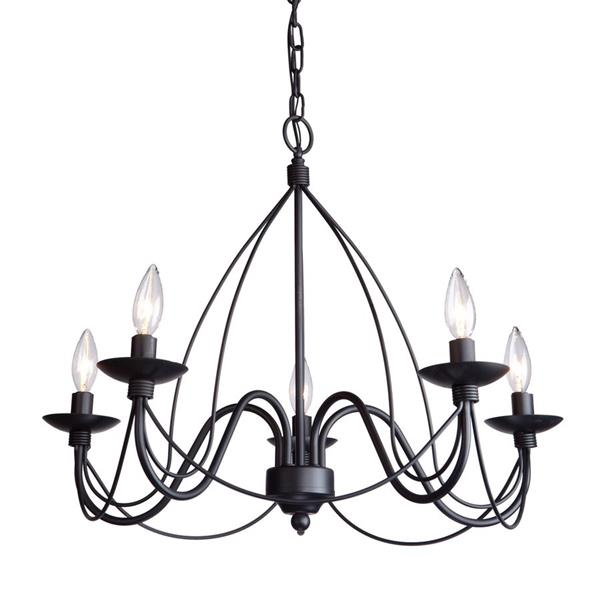 Artcraft Lighting 96-in Wrought Iron Ebony Black 6-Light Transitional Candle Chandelier