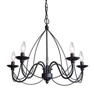 Artcraft Lighting 96-in Wrought Iron Ebony Black 6-Light Transitional Candle Chandelier