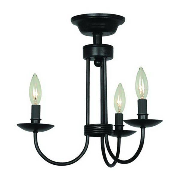 Artcraft Lighting Wrought Iron 15.50-in x 14.50-in Ebony Black 3-Light Chandelier