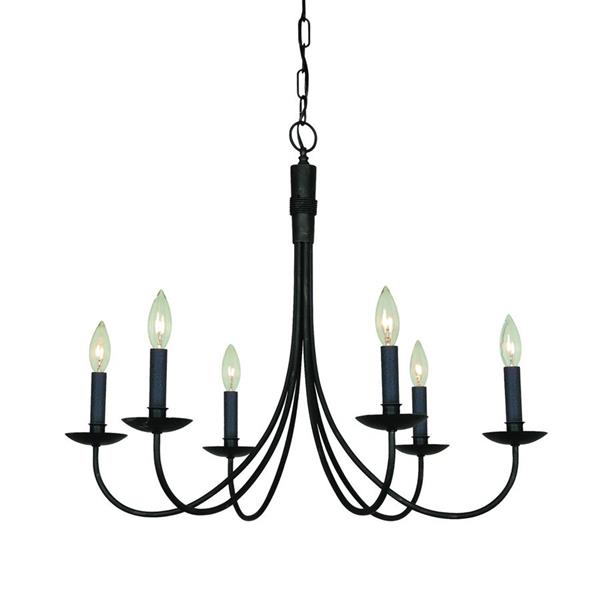 Artcraft Lighting Wrought Iron 6-Light Ebony Black Transitional Candle Chandelier 28-in